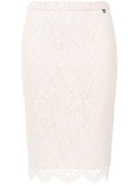 Twin-Set skirt lace skirt women scalloped lace nude cotton
