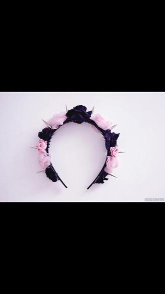 jewels pastel goth flowers spiked headband