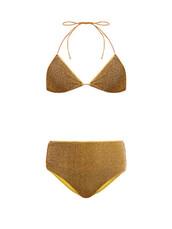 bikini,triangle bikini,triangle,metallic,gold,swimwear