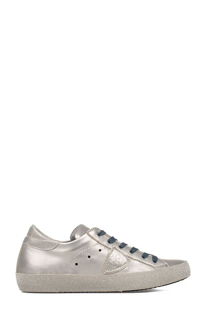 Philippe Model glitter paris sneakers silver leather shoes