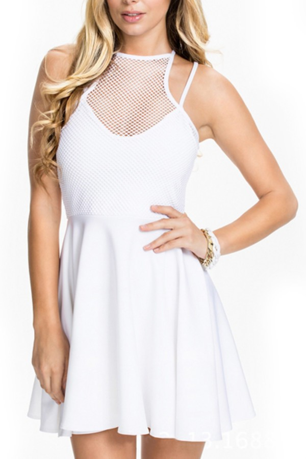 dress beautiful halo mesh see through white dress fashion cute girl skater dress style casual strappy