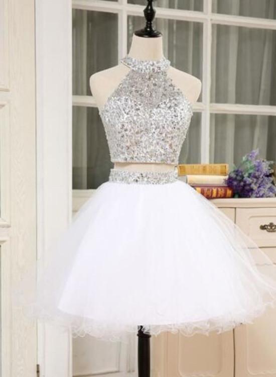 76e11540a60 White Two Piece Homecoming Dress