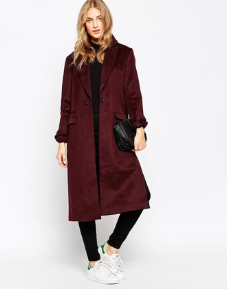 coat red long coat women long coat asos fall outfits winter outfits red coat white with black lining i think it was once at asos