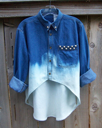 shirt clothes t-shirt blouse ombre shirt tumblr denim ombre bleach dye bleached studs vintage love bleach studded blouse denim blouse weheartit washed out demin denim jacket t shirt. style
