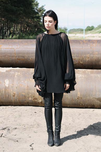 blouse black blouse black jeans street goth goth