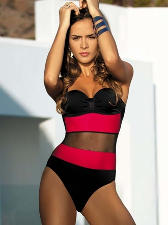 Meriell European Swimwear 2014 -  Mesh One Piece Bathing Suit  - Elite Fashion