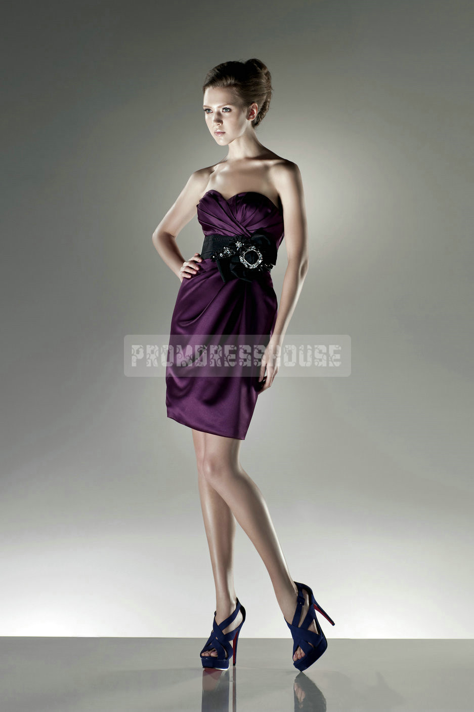 Ribbon Satin Mini Sheath Sweetheart Grape Bridesmaid Dress - Promdresshouse.com