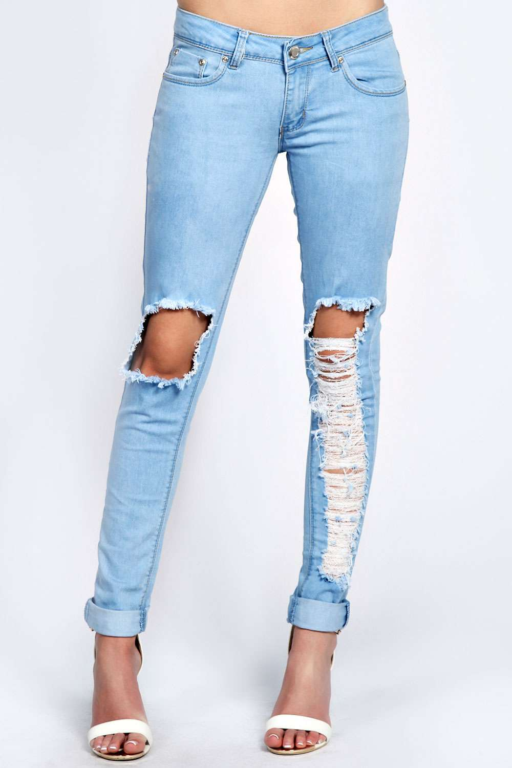 Light Stone Wash Ripped Leg Skinny Jeans
