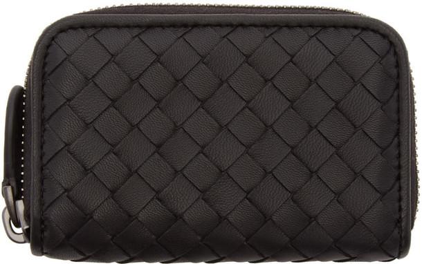 Bottega Veneta Black Intrecciato Zipped Coin Pouch