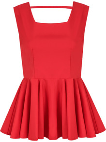Red sleeveless backless bow pleated top