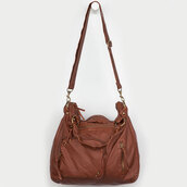 bag,brown,brown leather,tote bag,straps,zip,pockets,love,leather tote bag