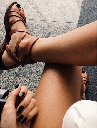shoes sandals sandal heels brown summer leather sandals