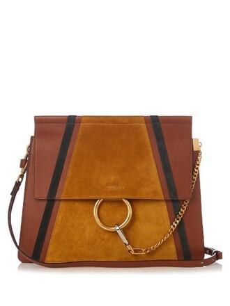 bag shoulder bag leather suede tan