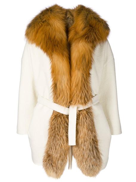 AVA ADORE coat fur fox women nude wool
