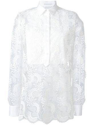 shirt sheer women layered white cotton paisley top