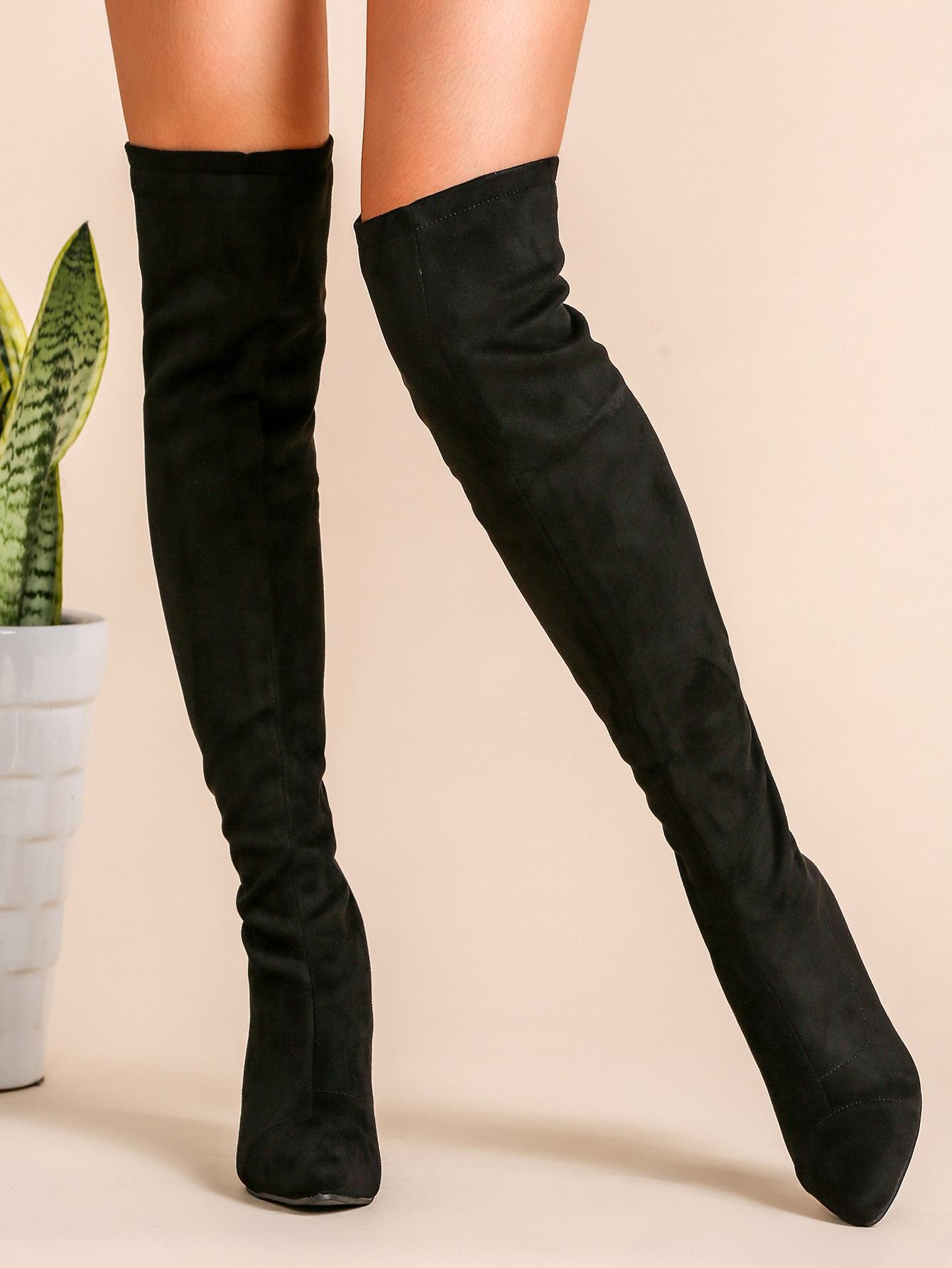 44ff779ca3 Black Faux Suede Point Toe Thigh High Boots -SheIn(Sheinside)