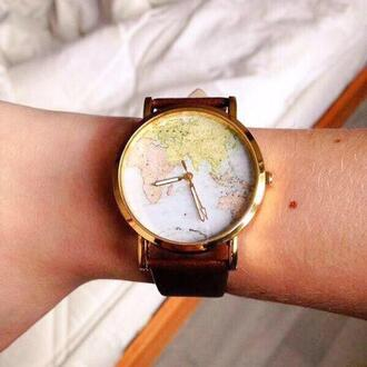 jewels watch world map watch hours bracelets colorful map print