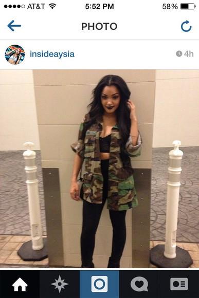 jacket camouflage army green jacket oversized cute aysia