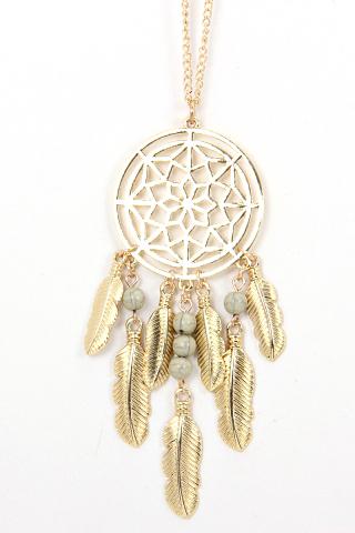 Long dramcatcher chain necklace