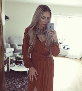 dress orange dress wrap dress boho