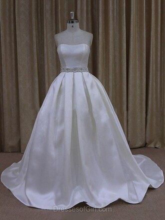 dress wedding stylish style girly white silk silky wedding dress wedding clothes dressofgirl white dress bride bride dresses