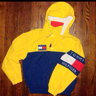 jacket tommy hilfiger jacket th windbreaker yellow tommy hilfiger blue