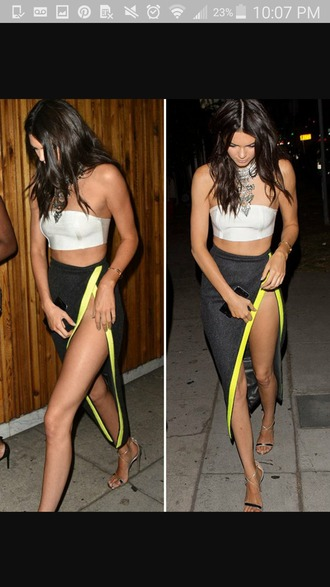skirt kendall jenner kendall and kylie jenner thigh high slit sexy