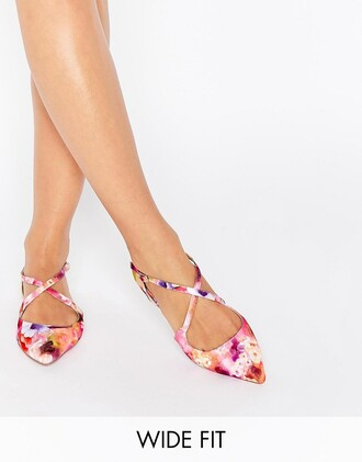 shoes floral flats strappy pink