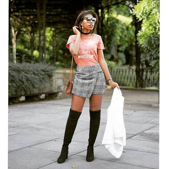 skirt plaid skirt mini skirt plaid plaid mini skirt wrap skirt asymmetrical boots over the knee t-shirt pink t-shirt sunglasses