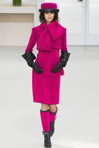 coat pink chanel fall outfits runway model hat boots paris fashion week 2016 fashion week 2016