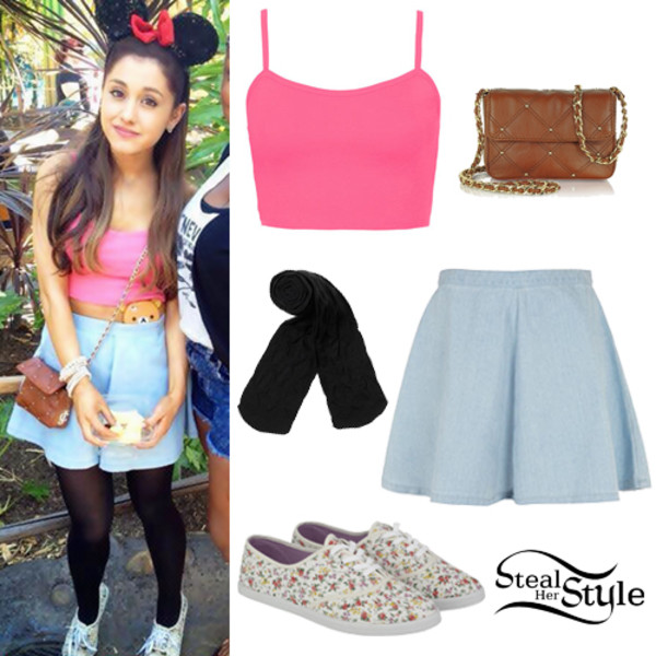shirt disneyland ariana grande minnie mouse cute jean skirt pink pink top floral purse leggings