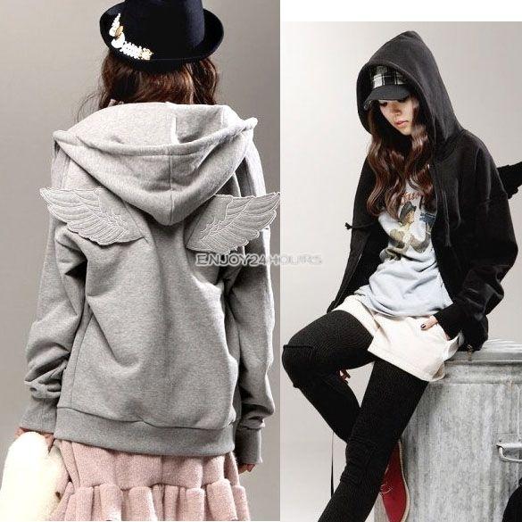 Women Wings Long Sleeve Casual Hoodie Sweatshirt Tops Jacket Coat Outerwear Cute | eBay