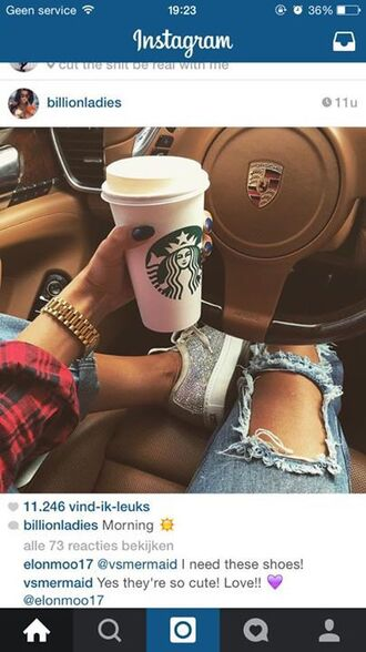 shoes luxury starbucks coffee jeans gold porsche brunette beautiful style fashion diamonds crystals nails