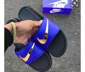 shoes,slide,nike,gold,blue,black,summer,sandals,pool,sportswear