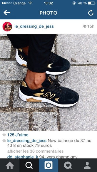 shoes black shoes black sneaker new balance new balance sneakers black and gold sneakers