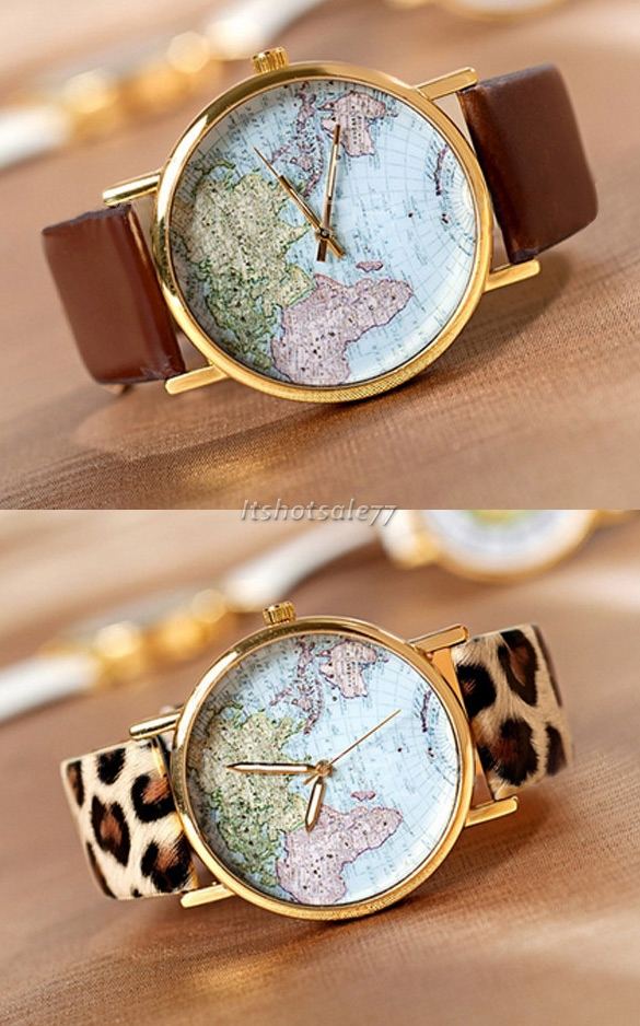 Vintage Women World Map Globe Fashion new Leather Alloy Analog Quartz watches | eBay