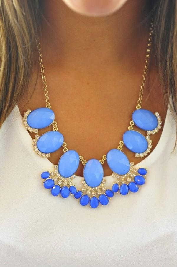 jewels necklace sky blue gold bubble necklace