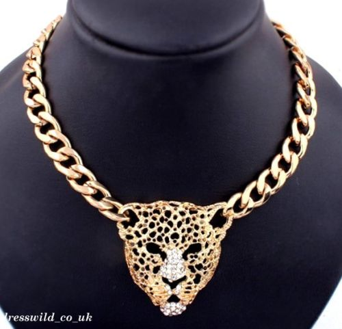 Gold Jaguar Head Choker Necklace Chunky Chain Tiger Rhinestone Crystal Bib Big | eBay