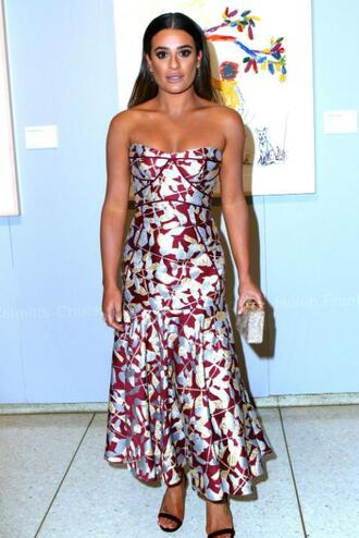 dress lea michele bustier bustier dress printed dress strapless midi dress