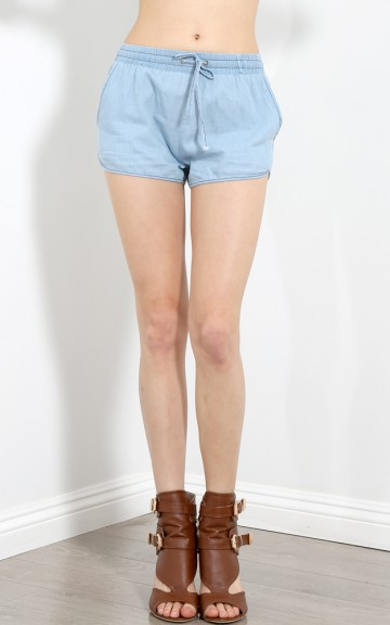 Drawstring Soft Denim Shorts | MakeMeChic.com