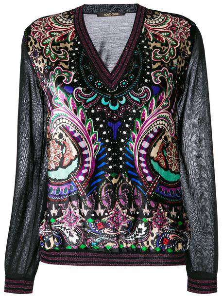Roberto Cavalli jumper women black silk wool sweater
