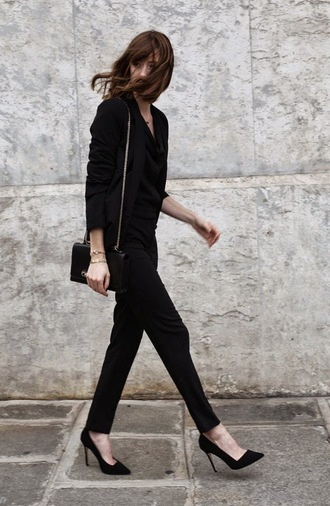 into your closet blogger jumpsuit bag bracelets stilettos blazer classy office outfits jewels jacket shoes all black everything black stilettos