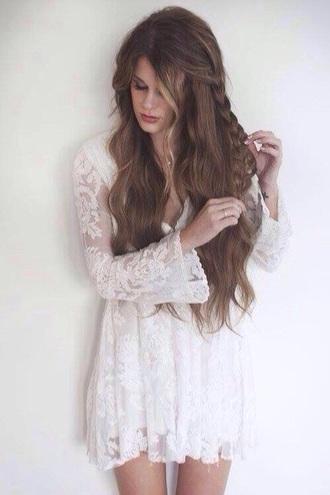 dress white dress lace white boho hippie vintage