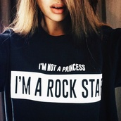 printed sweater,black and white,sweater,quote on it,rock,princess,zara,black sweater