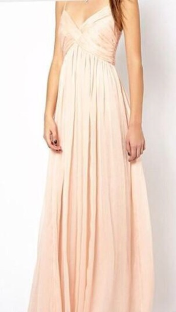 dress pastel prom maxi peach ball gown dress long long prom dress