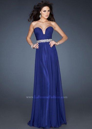 2014 New Style Long Indigo Pleated Sequin Waist Evening Dress [La Femme 18457 Blue] - $178.00 : Prom Dresses 2014 Sale, 70% off Dresses for Prom