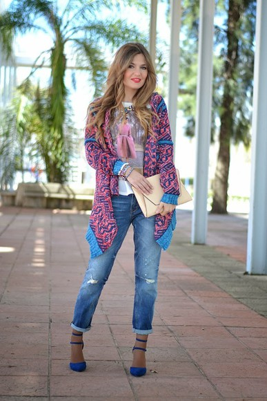 cardigan jeans sweater Choies prints high waisted jeans