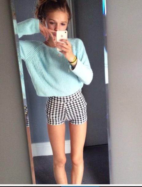 sweater blue cute aqaq knited shorts