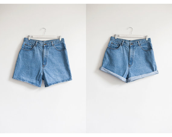 vintage high waist denim shorts / light wash by TheVintageHigh