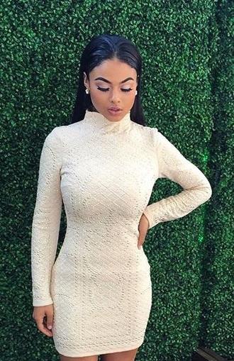 dress turtleneck dress long sleeve dress bodycon dress